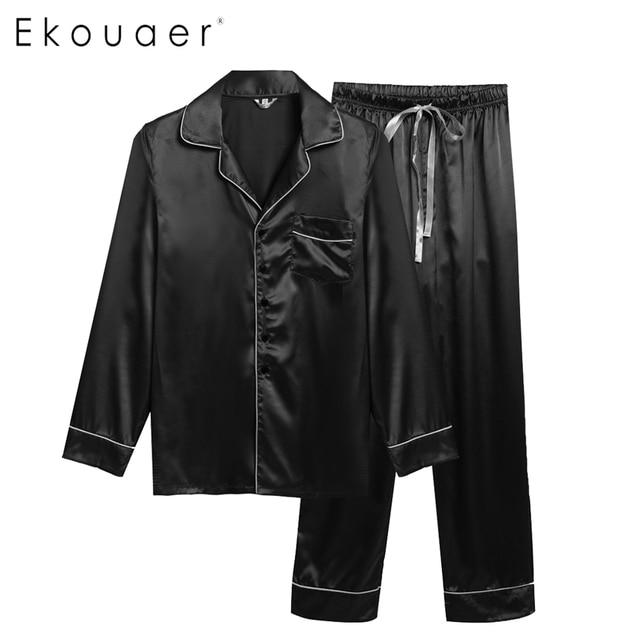 Ekouare Mens tops Homewear Pijamas ropa de noche masculina de Manga Larga Hombre Gira el Collar Abajo camisa Casual ropa Pijamas Ropa de Dormir
