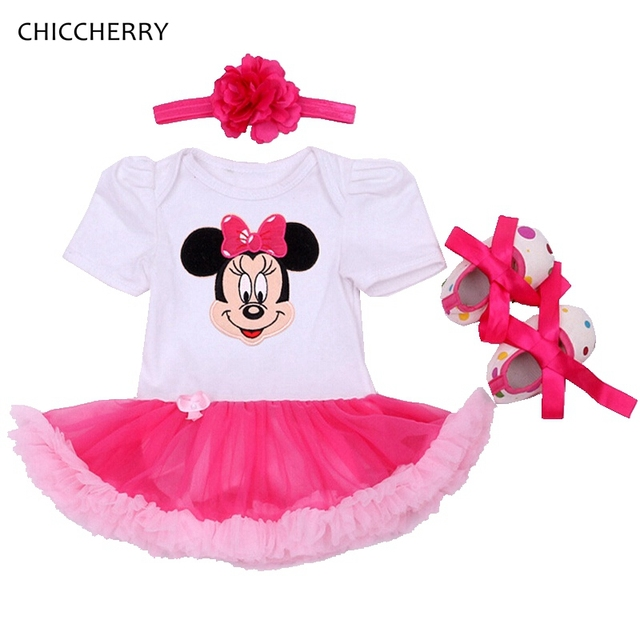 Pink Minnie Baby Lace Dress Infant Lace Romper Dresses Headband Set Tutu Toddler Outfits Vetement Bebe Newborn Baby Girl Clothes
