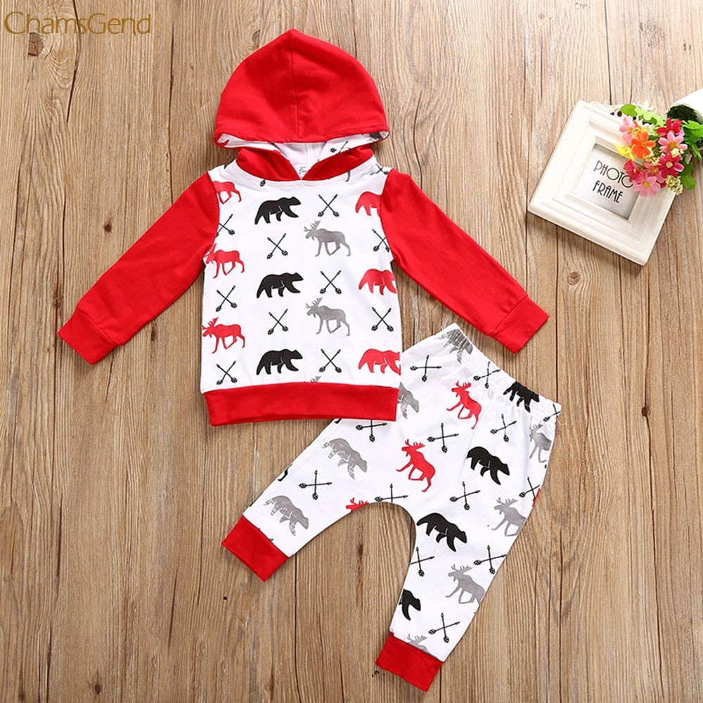 Toddler Infant Baby Boy Girl Deer Bear Hoodie Tops+Pants Outfits Clothes Se