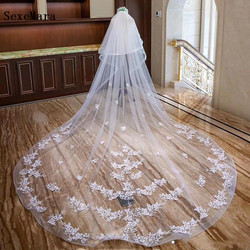 High Quality 2 Layers Wedding Veils with Blusher Cathedral Length Lace Appliqued Netting Bridal Wedding Veils with Comb