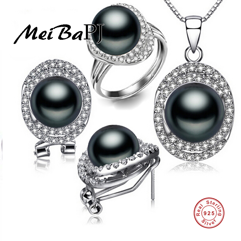 цена [MeiBaPJ]925 Silver top quality 100% genuine black freshwater pearl pendant necklace and earrings jewelry sets for women