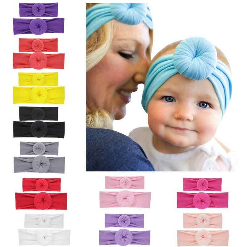 Naturalwell Mum baby Mother Daughter Headband set Colorful DONUT turban  Kawaii Donut Headbands Baby girls Accessories HB283S a4da49eb444
