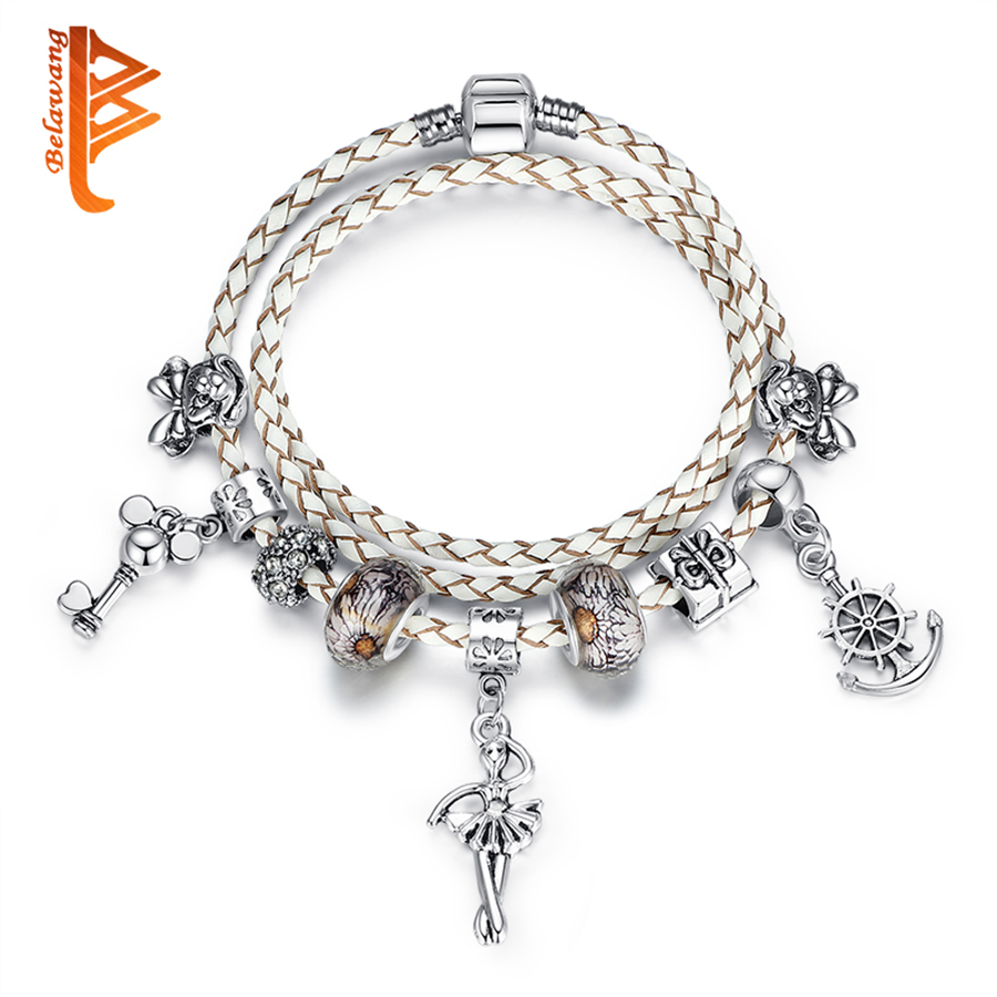 Original Silver Clasp White Genuine Leather Bracelets For Women Diy Angel Charm Bracelet Bangle Jewelry Christmas Gift In From