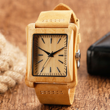 100% Nature Wooden Watches for Men and Women Rectangle Dial