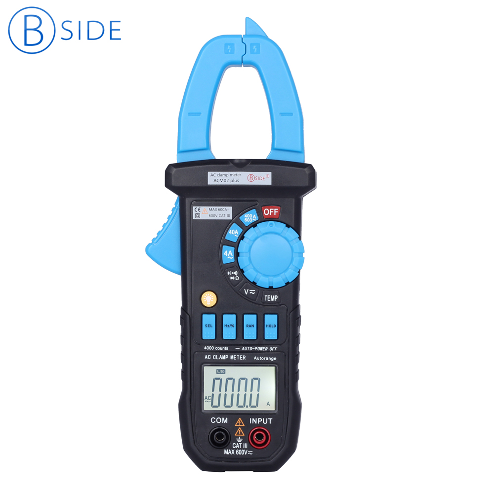 BSIDE ACM02 Plus 3 3/4 600A Auto Range Digital Clamp Meter Non-contact AC Current capacitance Tester Multimeter & Clamp Lighting compatible projector lamp for boxlight sp lamp lp3e cd 454m cd 455m cd 555m
