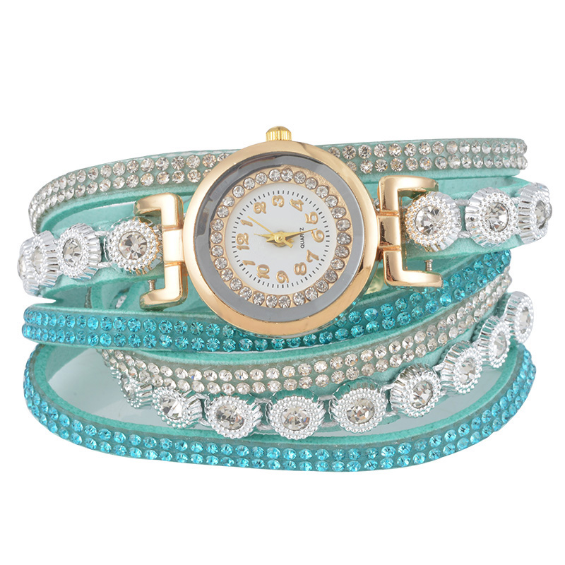 Rhinestone Weave Casual Analog Wrist Watch