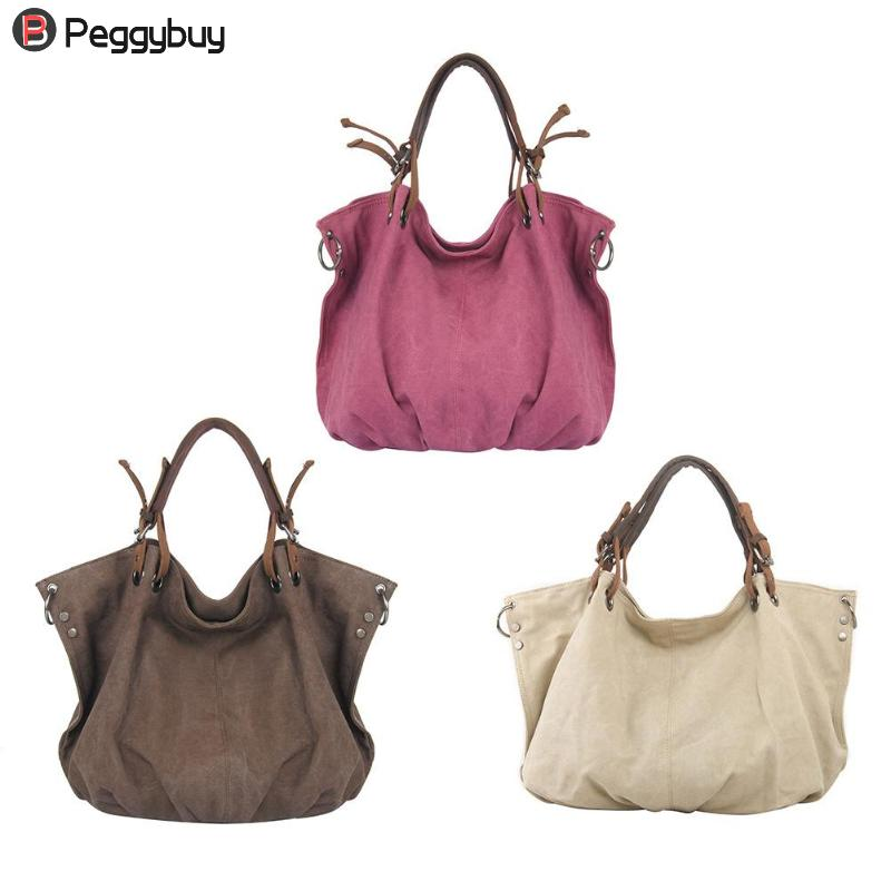 46 X 36 X 17cm Retro Women Shoulder Bag with Strap Canvas Travel Hobo Big Capacity Casua ...