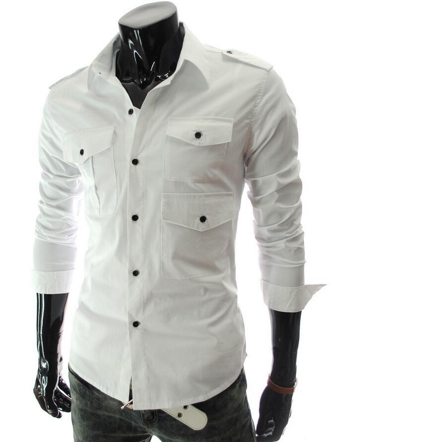 Shirt design of man - 2016 Hot Sale Camisas Men S Multiple Pocket Design Shirts Long Sleeve Casual Slim Fit Men Shirt