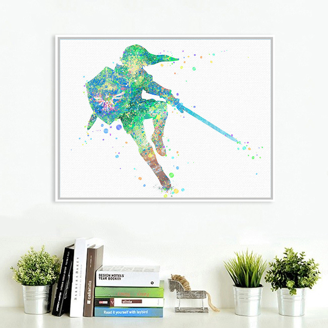 Watercolor Zelda Legend Sword Pop Anime Game Art Print Poster Wall Picture Canvas Painting No Frame Home Decor