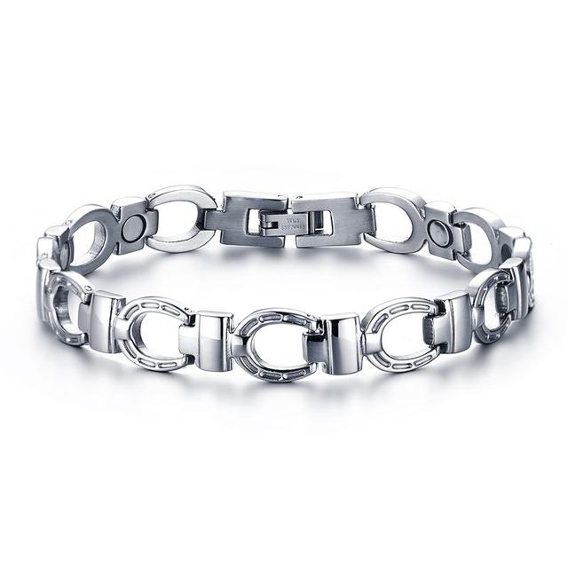 Mens Magnetic Bracelet Stainless Steel With Fold Over Clasp In Silver Color Link Chain Bangle