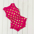 Polka gold dots infant baby newborn baby girls pompom outfits One-piece cute toddler kids clothes Tassel Waist Jumpsuit