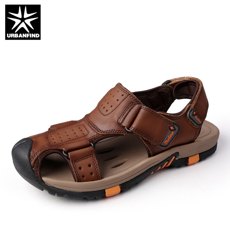URBANFIND Men Genuine Leather Sandals New Arrival Summer Shoes Size 38-45 Classic Style  ...
