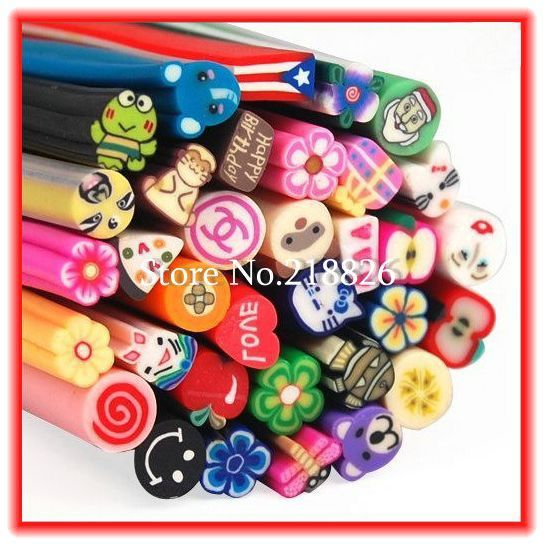Big Promotion!600pcs/lot Nail Art 3D Canes Fimo Rods Polymer Clay Tips DIY Decoration Free Shipping+Free Blade