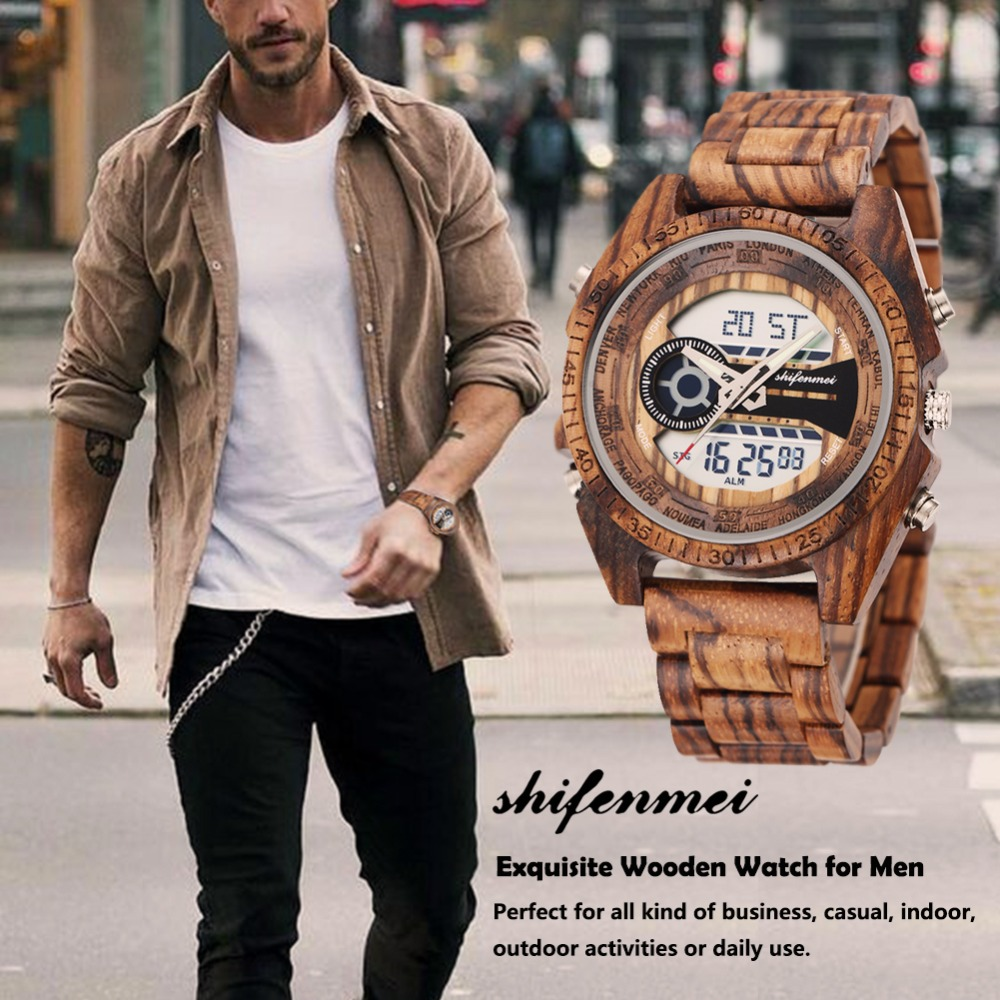 top luxury brand Shifenmei 2139 Antique Mens Zebra and Ebony Wood Watches with Double Display Business Watch in Wooden digital quartz watch drop shipping 2019 (8)