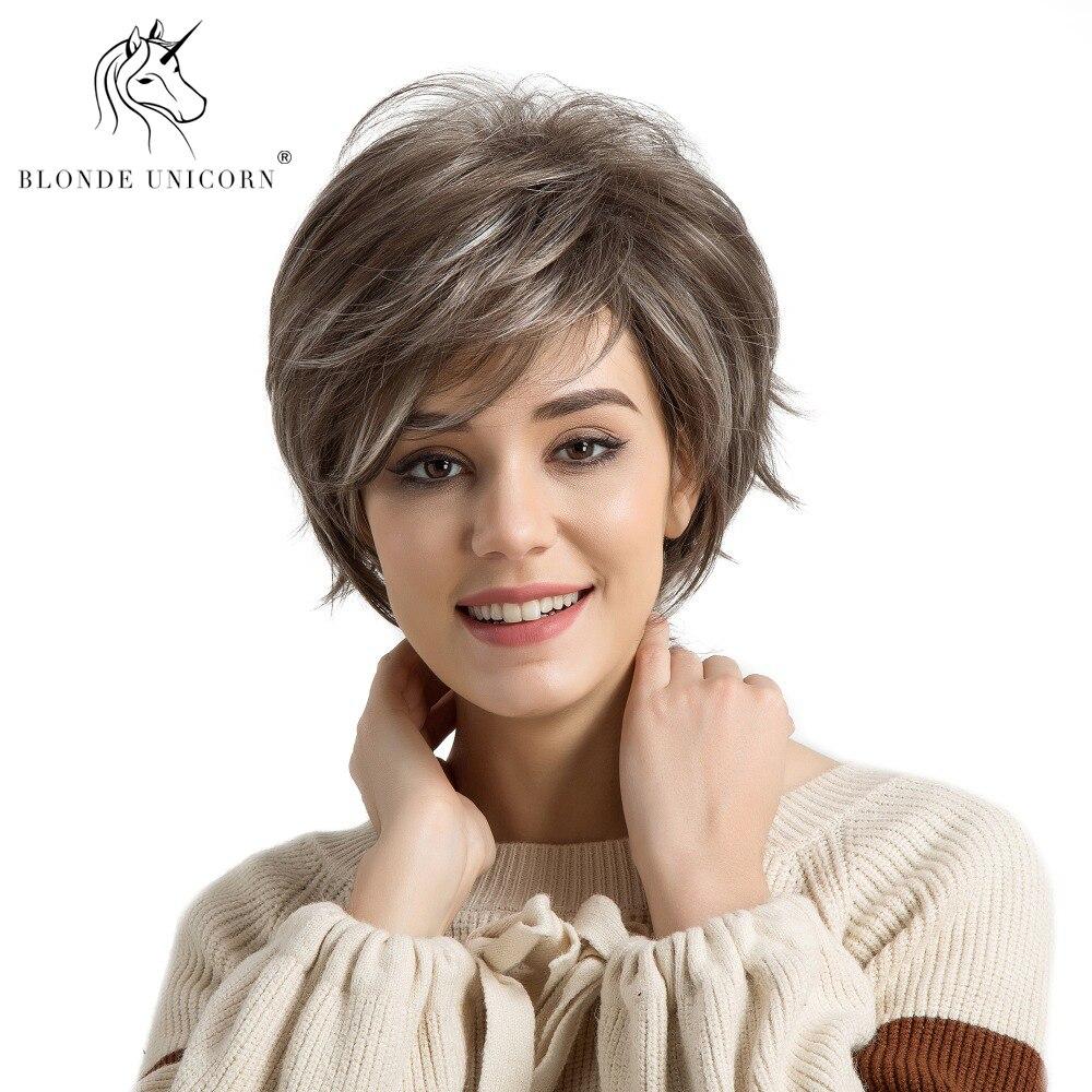 Blonde Einhorn 6 zoll Licht Braun Highlights Synthetische Perücken Für Schwarz/Weiß Frauen Flauschigen Natürliche Welle African American Kurze perücke