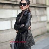 Роскошные кожаные Для женщин куртка мотоцикла пальто 2018 новые Демисезонный натуральной овчины тонкий женский пальто плюс Размеры G09