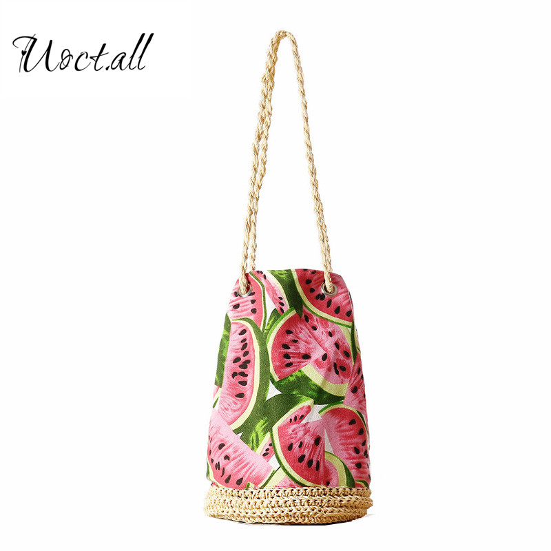 String Sackpack Straw Summer Beach Bag Fresh Fruit Watermelon Printing Tote Women Bucket Bag Canvas Shoulder Bag Woven Hand bags