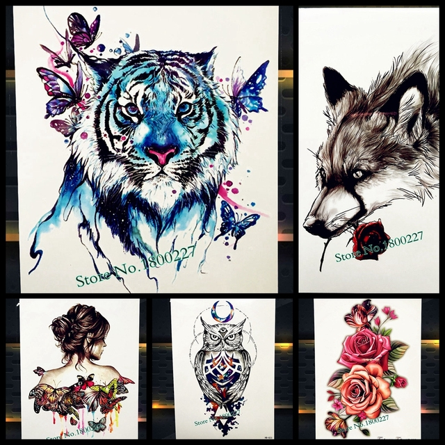 255caed56 Watercolour Blue Tiger With Butterfly Temporary Tattoo Stickers, Drawing  Body Art Paint Waterproof Tattoo Fake