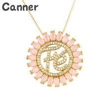 Canner Gorgeous Cubic Zirconia Pendant Letter Necklaces Round Opal Rhinestone Chain Necklace For Woman Girls A30 trendy rhinestone inlaid letter round pendant necklace for lovers