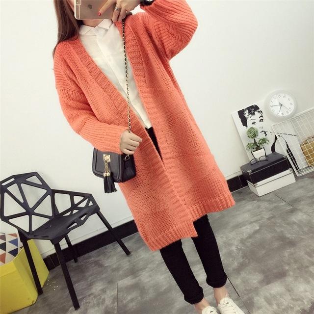 2016 Mujeres del Otoño Cardigans Suéter Caliente Ocasional del Diseño Largo Femenino Suéter Chaqueta de punto chaqueta de Punto 8523 S