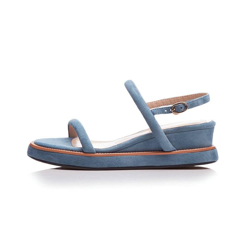 Verano Cuero Negro Zapatos Mujeres Aiweiyi Sandalias Cómodo Black apricot Cuña Auténtico azul Moda Gladiador Azul Femenino CSICqw
