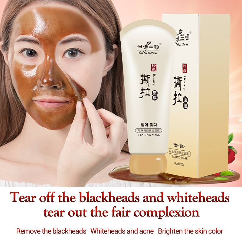 ISILANDON Pearl Blackhead Remover Mask Face Care Pore Strip Black Mask Peeling Acne Treatment Nose Mask Deep Cleansing Skin Care