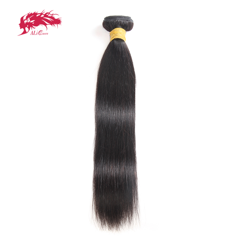 Ali Queen Hair Indian Virgin Hair Straight Bundles Natural Black Color 100% Human Hair Weaving 8