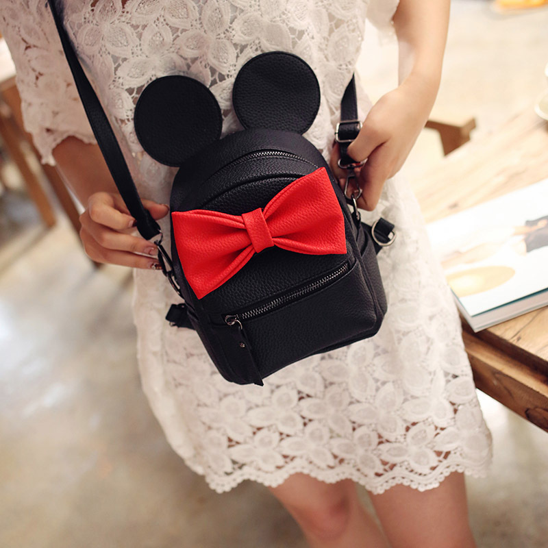2016 hot selling high quality School female bag pu leather women bag of Mickey ears sweet bow College Wind mini backpack