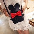 2016 venda quente de alta qualidade saco de Escola do sexo feminino de couro pu saco de orelhas de Mickey das mulheres doce arco Vento Colégio mini mochila