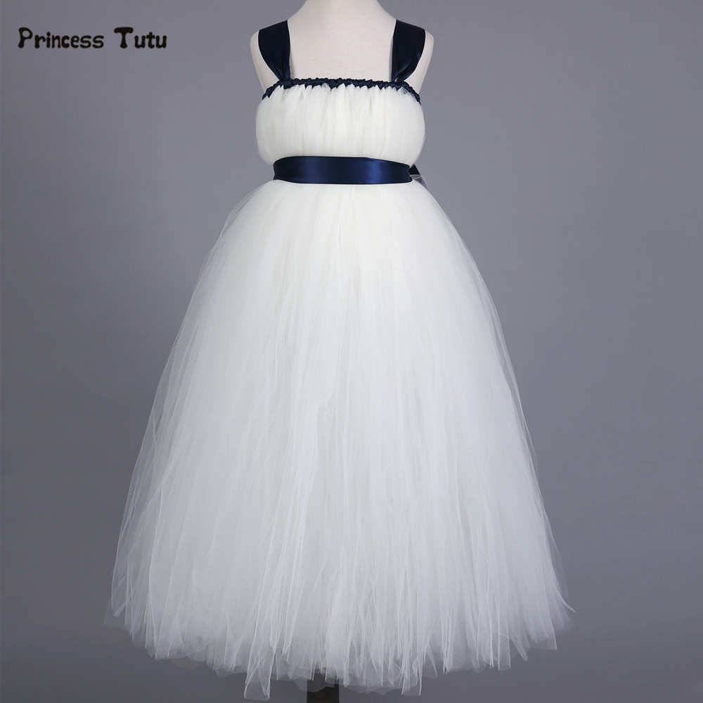 Princess Tutu Dress Baby Girls White Bridesmaid Flower Girl Wedding Dress Fluffy Ball Gown Kids Birthday Prom Party Tulle Dress gorgeous pink and white girls tutu dress with headband princess birthday party wedding costume photo props tulle dress ts110
