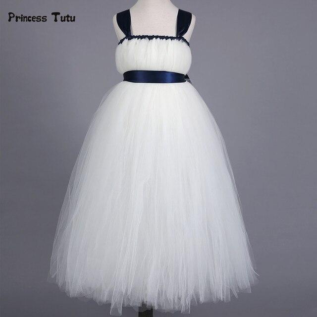 Princess Tutu Dress Baby Girls White Bridesmaid Flower Girl Wedding