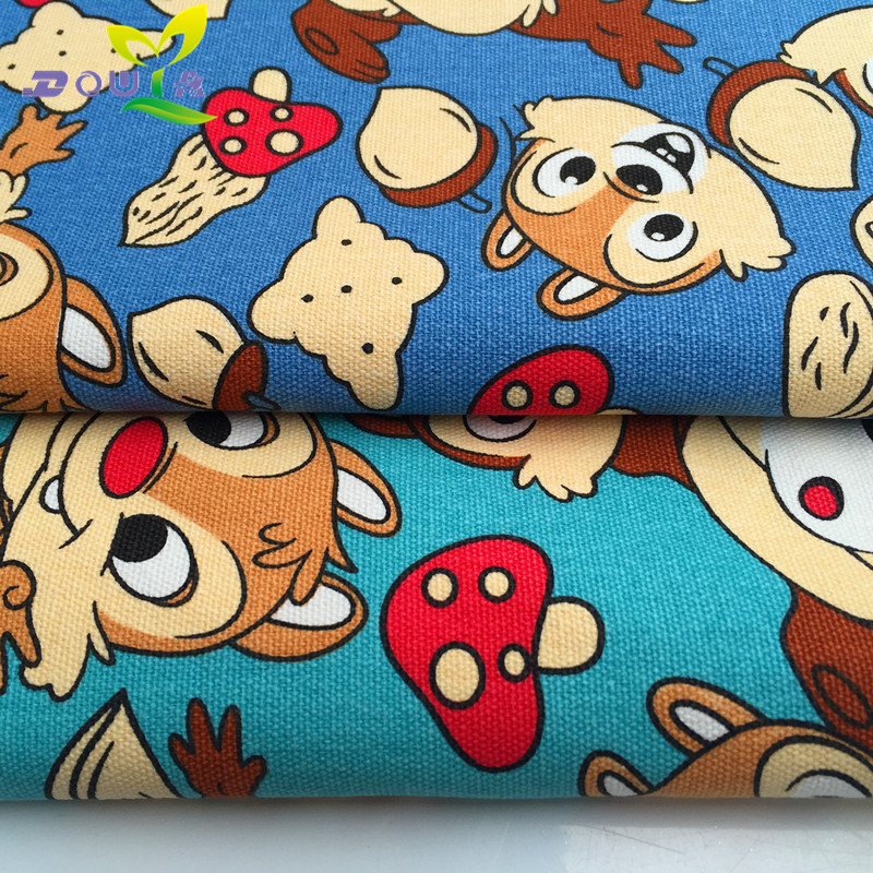 1 metros/adorável super pequeno esquilo impresso sofá travesseiro cortina de tecido feito à mão DIY saco de lona mochila de lona sapatos de pano