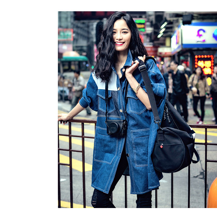 2018 Femmes Manteau Denim Outwear Tranchée Taille Poitrine down Unique Printemps À Oversize Pour Col Casual Large Spliced Blue Fashion Turn rq1rIEwxn