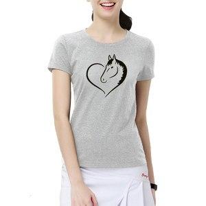 Image 4 - Fashion Love Riding Horse Women T Shirts Summer batwing sevele Cotton Funny Horse Girl T shirt Female Clothing Women Tops