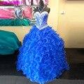 Fotos reales Cristales Balón vestido de Novia Con Cuentas Azules Vestidos de Quinceañera durante 16 años Por Encargo