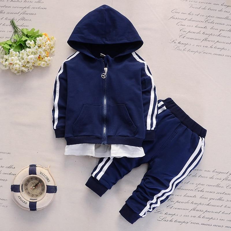 2019 Nova Primavera e Outono 1-4 Anos de Idade de Moda Bebê Manga Longa Com Capuz Calças Casuais Duas Crianças Terno roupa dos miúdos