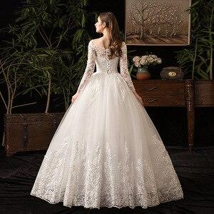 Image 4 - 2021 새로운 우아한 O 목 풀 슬리브 웨딩 드레스 환상 레이스 자 수 간단한 사용자 정의 만든 된 신부 가운 Vestido De Noiva L