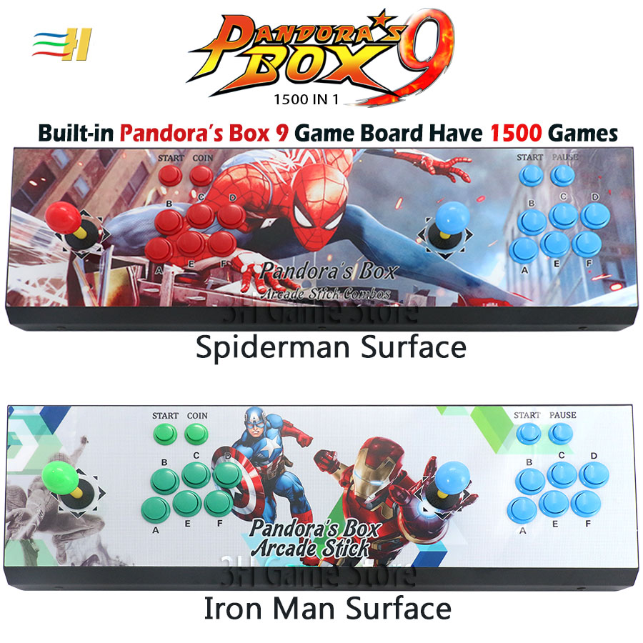 New Pandora box 9 1500 in 1 console 2 players arcade game button joystick  arcade kit usb joystick for pc tv Plug and play pacman