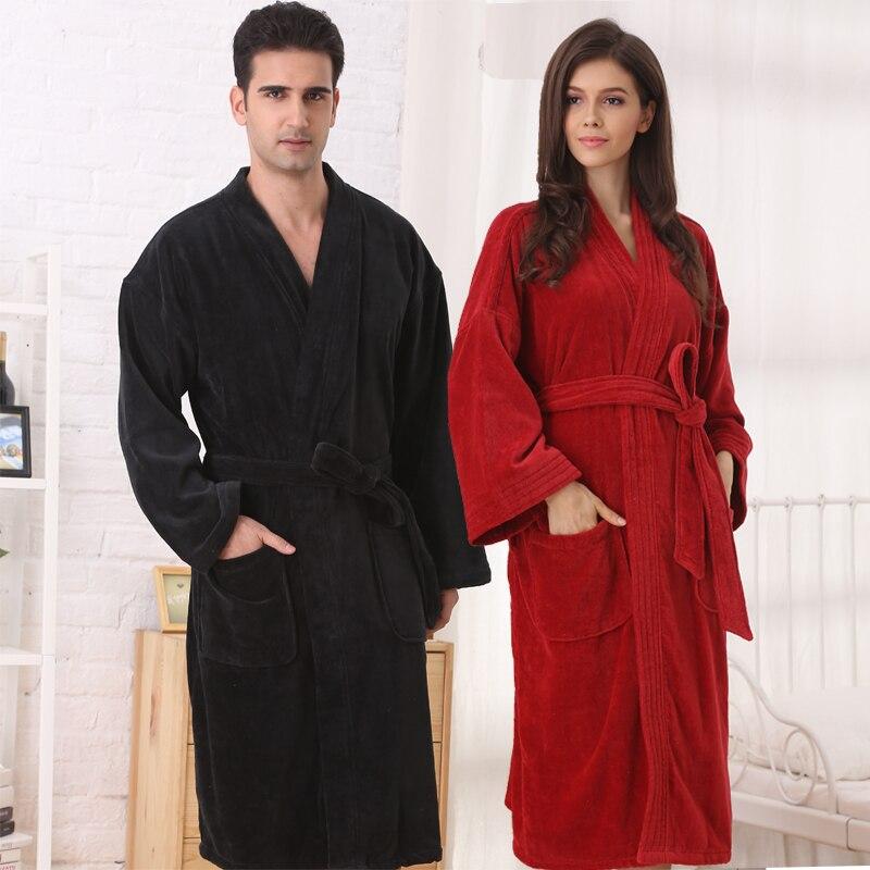 Livraison gratuite grande taille hommes 100% coton robe épaississement peignoir hiver vêtements de nuit
