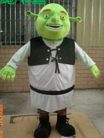 New Shrek Mascot Costume Cartoon Apparel Halloween Party Costume Adult Size with Green Fat Head Laughing Face