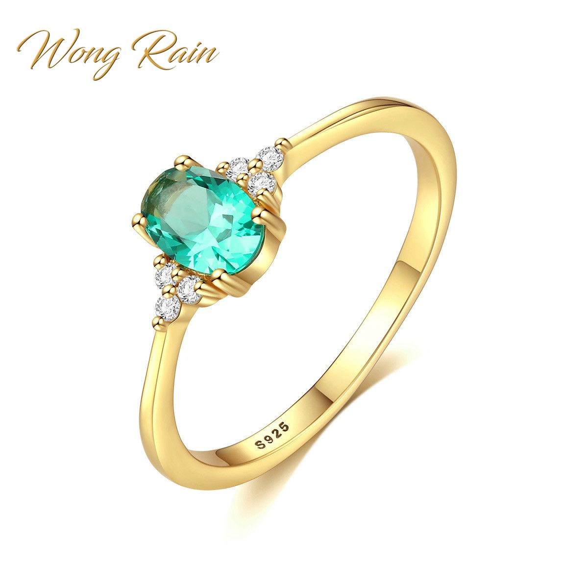 Wong Rain Vintage 925 Solid Sterling Silver Emerald Gemstone Wedding Engagement Diamonds Yellow Gold Ring Fine Jewelry Wholesale