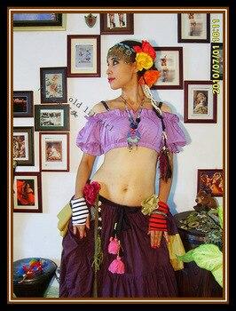 ATS danza del vientre del renacimiento de moza de pirata gitano hadas traje campesino Top Tribal Choli superior T21-T25