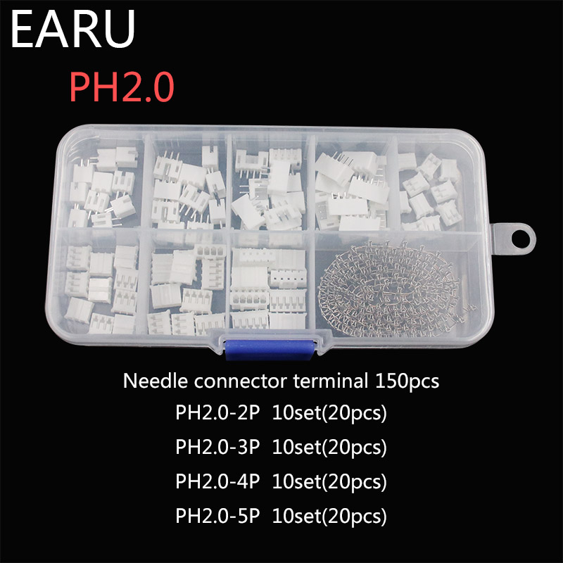 230pcs PH2.0 2p 3p 4p 5 Pin 2.0mm Pitch Terminal Kit / Housing / Pin Header JST Connector Wire Connectors Adaptor XH Kits Box