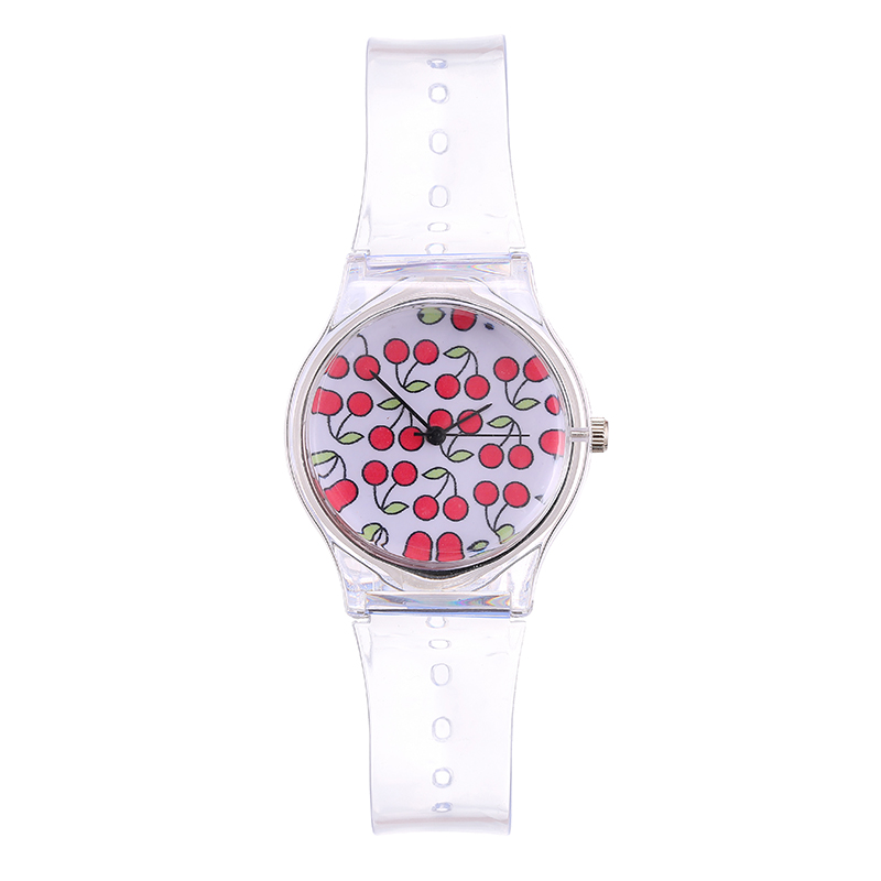 The New Leisure Brand Women Watches Drawing Clockwise Indication Dial Transparent Silicone  Strap Stitch Button Quartz Watche
