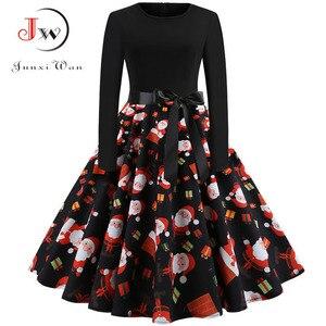 Image 3 - Robe de noël vintage pour femmes, tenue de soirée élégante, manches longues, décontractée, modèle swing, pin up, grande taille, impression en noir, inspiration années 50, 60