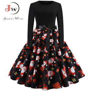 Image 3 - Winter Weihnachten Kleider Frauen 50S 60S Vintage Robe Schaukel Pinup Elegante Party Kleid Langarm Casual Plus Größe druck Schwarz