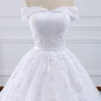 Fansmile 2019 Lace Gowns Wedding Dress Robe Princesse Mariage Plus Size Long Train Tulle Mariage Bridal Wedding Turkey FSM-433T 4