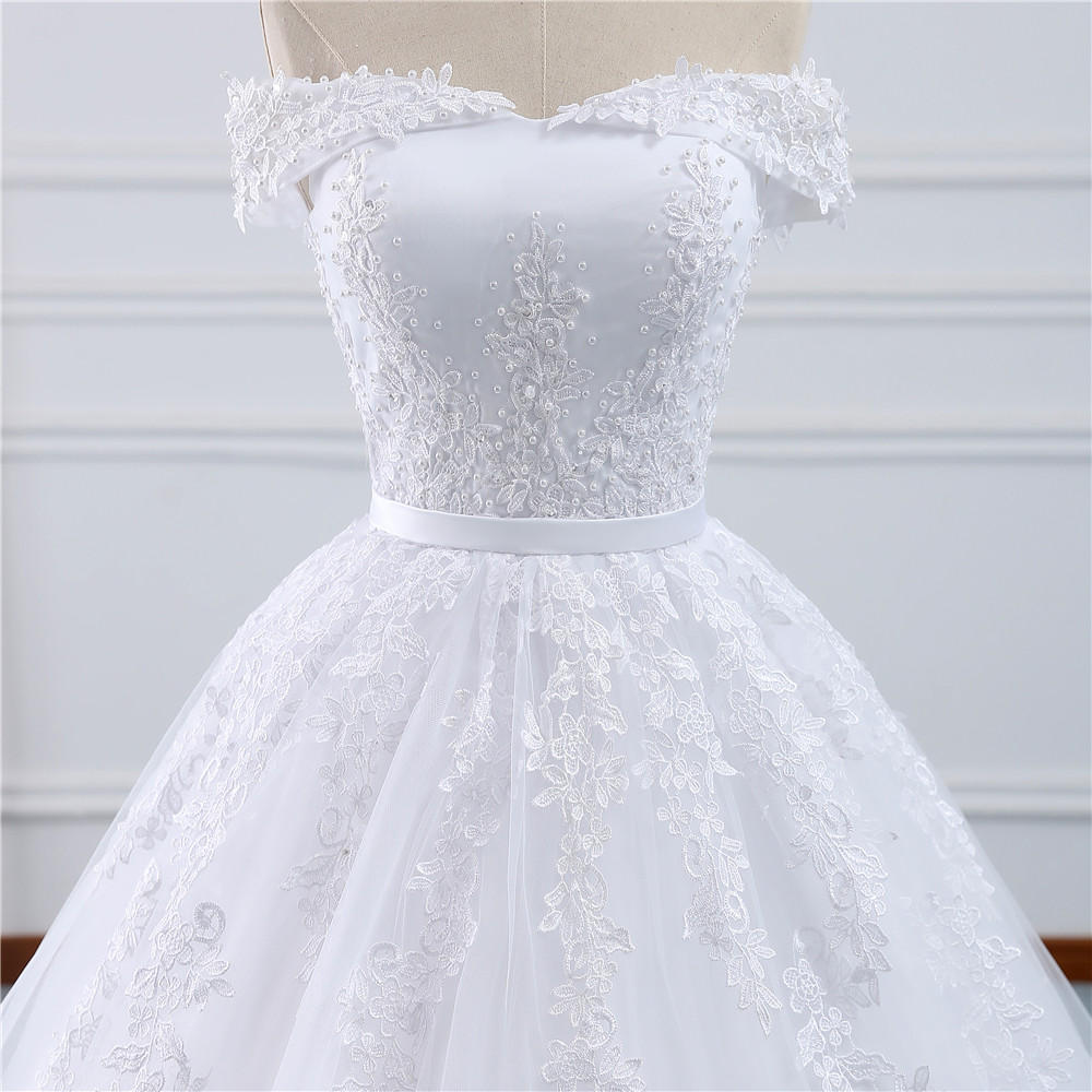Image 4 - Fansmile 2019 Lace Gowns Wedding Dress Robe Princesse Mariage Plus Size Long Train Tulle Mariage Bridal Wedding Turkey FSM 433T-in Wedding Dresses from Weddings & Events