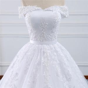 Image 4 - Fansmile 2020 Lace Gowns Wedding Dress Robe Princesse Mariage Plus Size Long Train Tulle Mariage Bridal Wedding Turkey FSM 433T