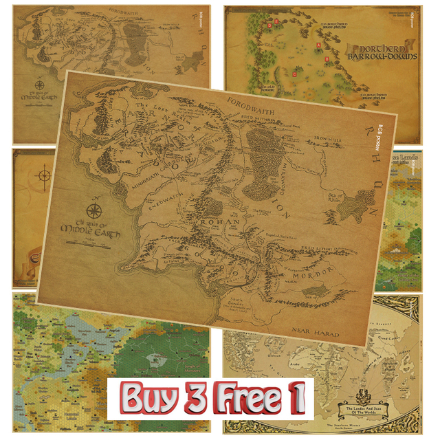 Middle Earth Map On Lord of the Rings and Harry Potter Magic World ...